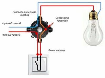 Как подключить светильник с выключателем