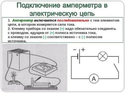 Как правильно подключить амперметр в цепь электрического тока