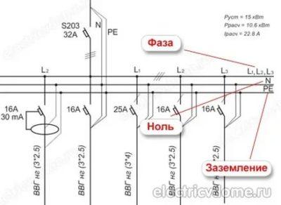 Как на схеме обозначается фаза и ноль