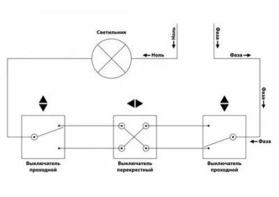 Как соединить перекрестный выключатель