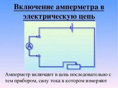 Как Амперметр включается в электрическую цепь