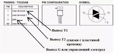 Как определить выводы симистора