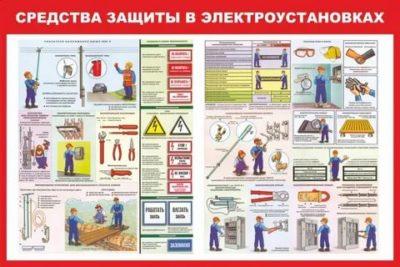 Какие средства защиты используются при работе в электроустановках