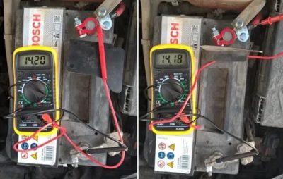 Какое напряжение должно быть на клеммах аккумулятора при заведенном двигателе