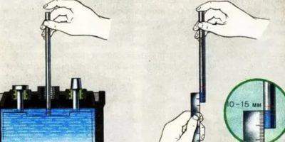 Каким должен быть уровень электролита в аккумуляторе