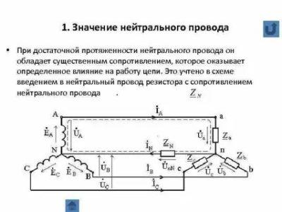 Что обеспечивает нейтральный провод с нулевым сопротивлением