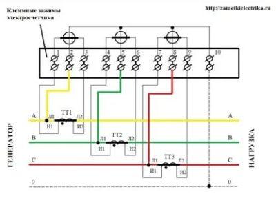 Как подключить трехфазный счетчик с трансформаторами тока