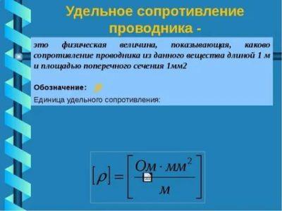 Что называется удельное сопротивление проводника