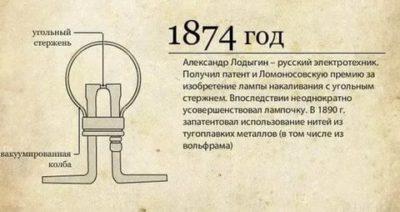 В каком году была изобретена лампочка накаливания