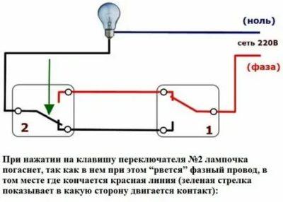 Как работает проходной выключатель