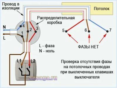 Как определить фазу и ноль на потолке