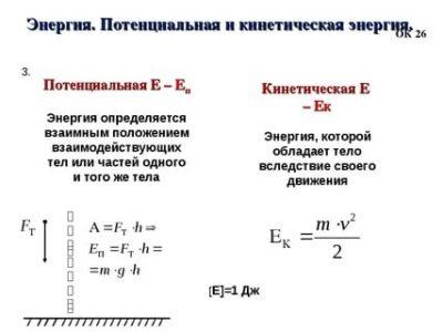 Что такое кинетическая энергия и потенциальная энергия