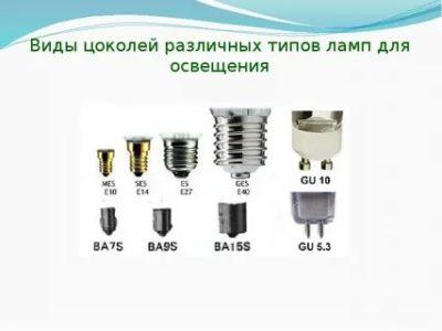 Какие бывают цоколи для ламп