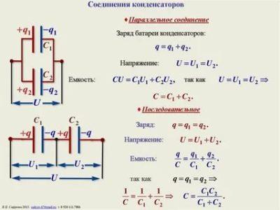 Как рассчитать последовательное соединение конденсаторов