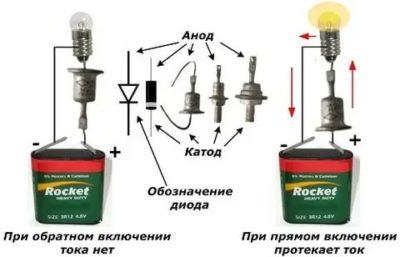 Как проверить диод с помощью батарейки