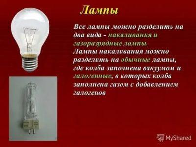 Чем заполнена лампа накаливания