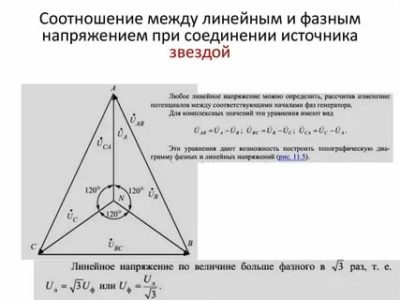 Чему равно отношение при соединении звездой линейных и фазных напряжений