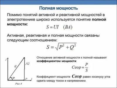Что называется активной реактивной и полной мощностью