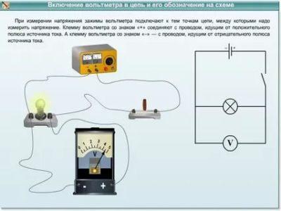 Каким образом Вольтметр включается в электрическую цепь
