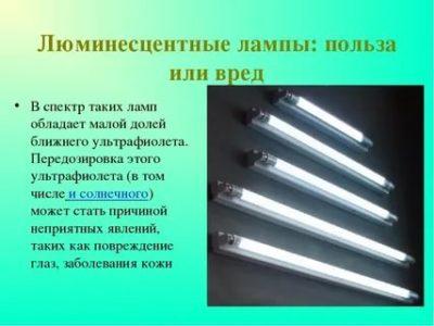 Какой вред от люминесцентных ламп