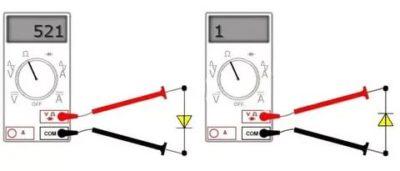Как определить полярность диода тестером