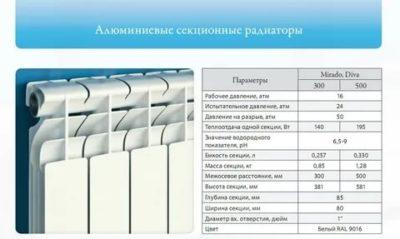 Сколько ватт в 1 секции алюминиевого радиатора